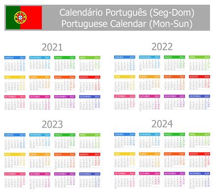 2021-2024 Portuguese Type-1 Calendar Mon-Sun