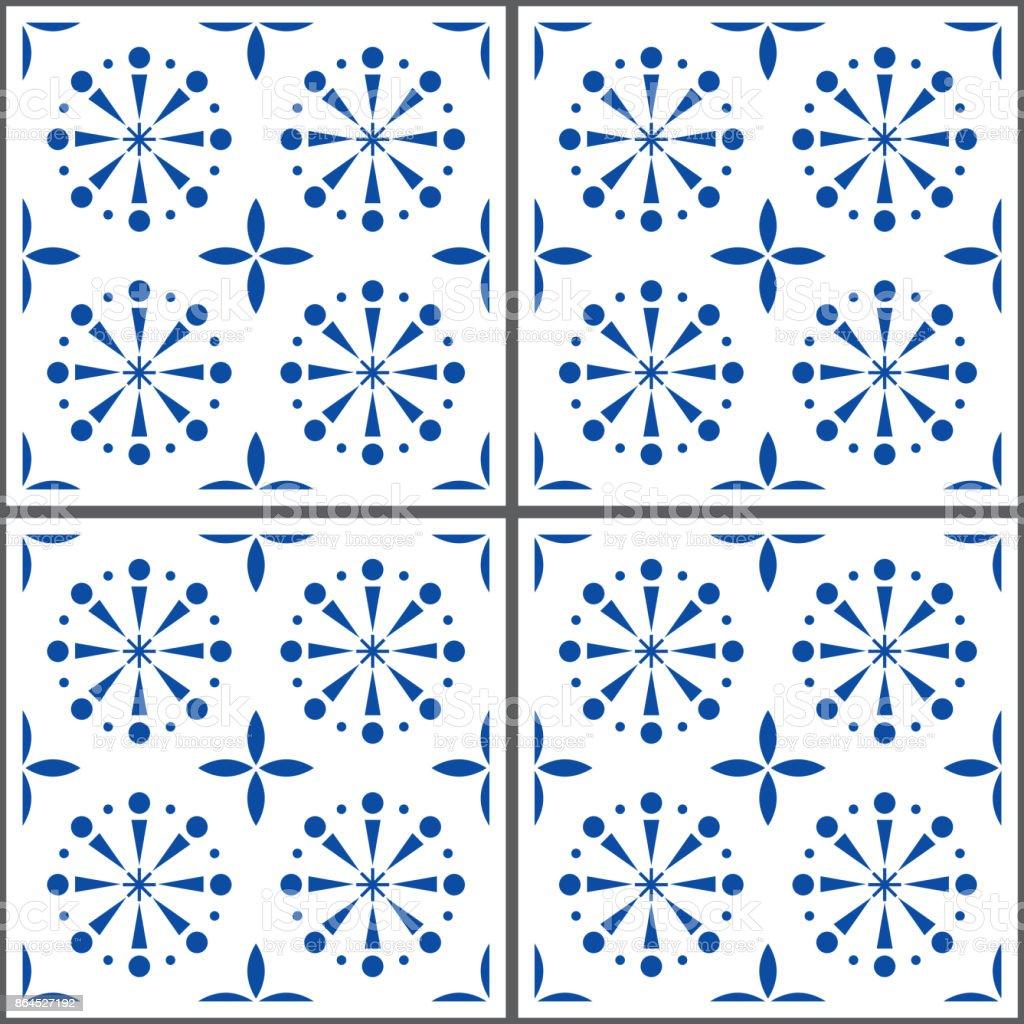 Portuguese Vector Tile Pattern Lisbon Seamless Indigo Blue Tiles ...