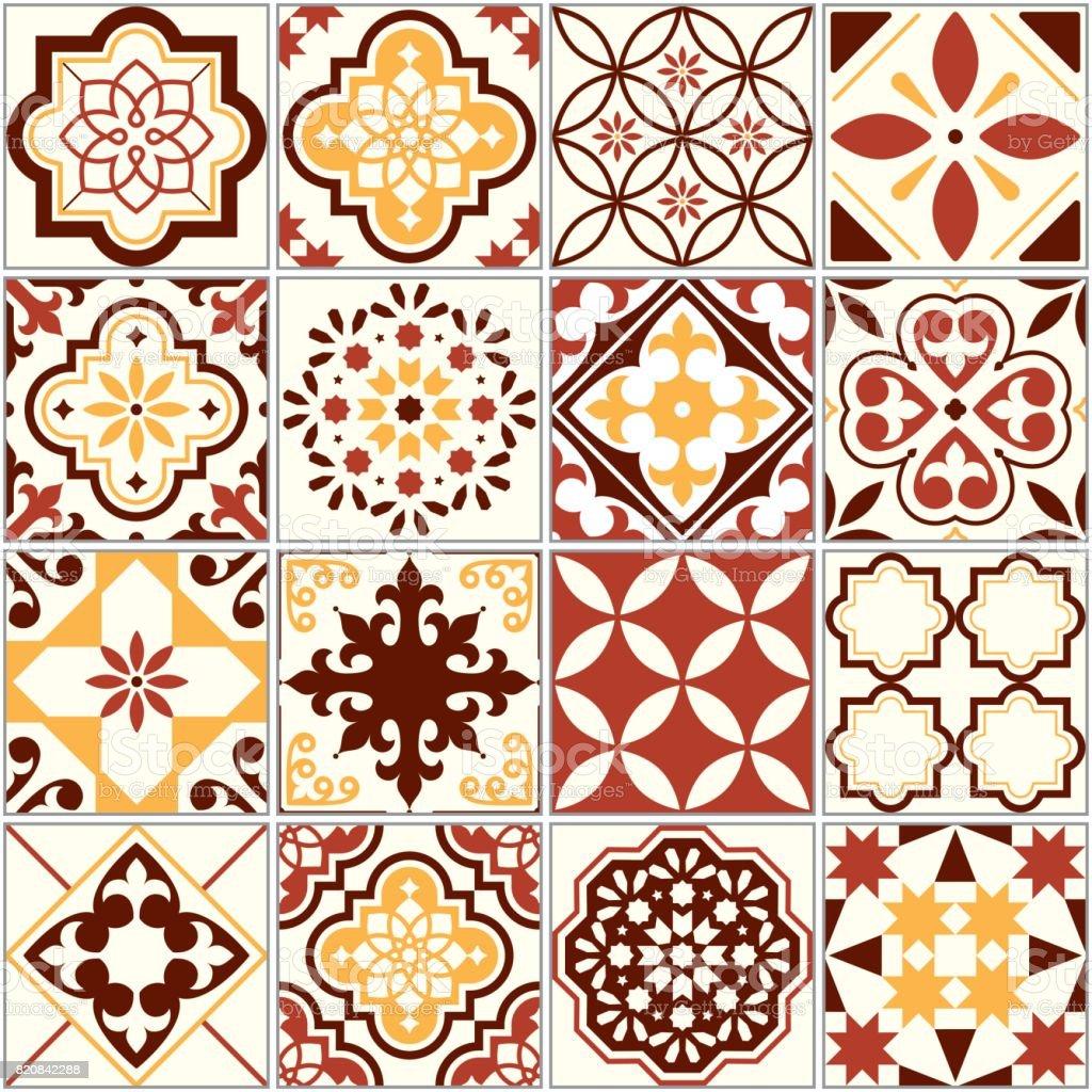 Portuguese vector tiles, Lisbon art pattern, Mediterranean seamless ornament in brown and yellow vector art illustration