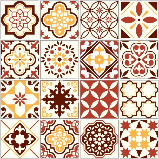 portuguese vector tiles, lisbon art pattern, mediterranean seamless ornament in brown and yellow - tile pattern stock illustrations, clip art, cartoons, & icons