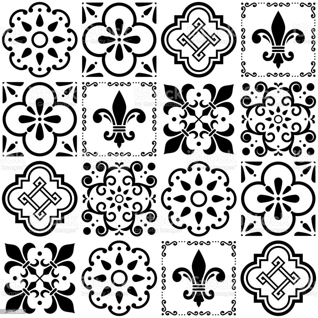 Portuguese Vector Tiles Pattern Lisbon Seamless Black And White ...