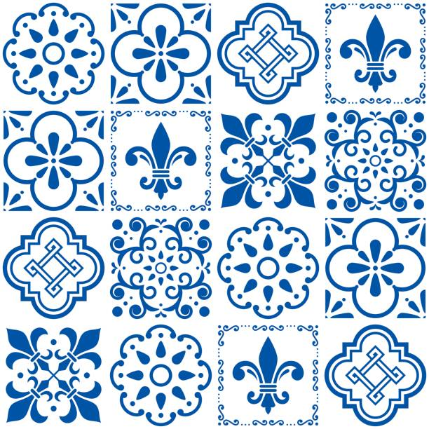 portuguese vector tiles pattern, lisbon seamless indigo blue tile design, azulejos vintage geometric ceramics - lizbona stock illustrations