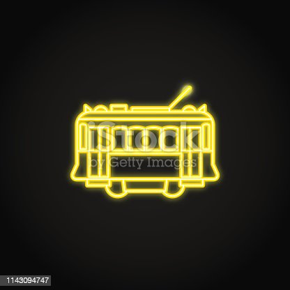 Lisbon yellow tramway icon in glowing neon style. Portuguese city symbol vector illustration.