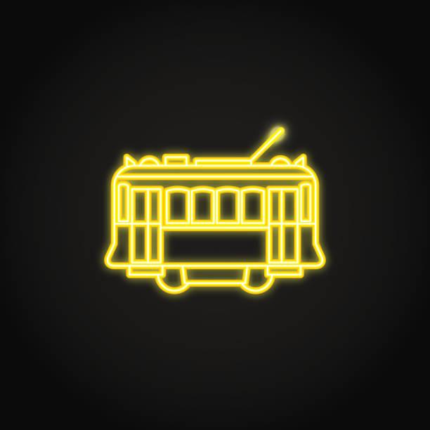 ilustrações de stock, clip art, desenhos animados e ícones de portuguese yellow tramway icon in glowing neon style - eletrico lisboa