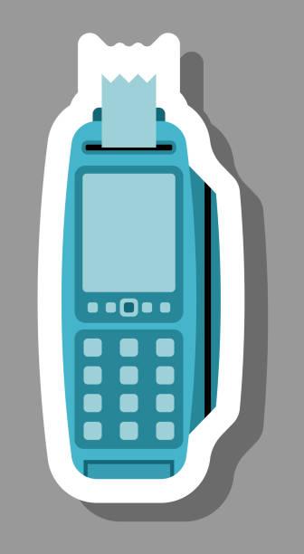 pos-maschinensymbol, das zahlung und kauf symbolisiert - kassenbon grafiken stock-grafiken, -clipart, -cartoons und -symbole
