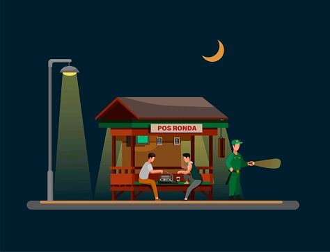 Pos Ronda Hansip is traditional security post building in indonesia village concept in cartoon illustration vector