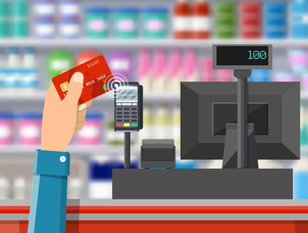 Pos terminal confirms payment by bank card. Pos terminal confirms payment by bank card. Supermarket interior. Cashier counter workplace. Shelves with products. Cash register and keypad. Vector illustration in flat style register stock illustrations