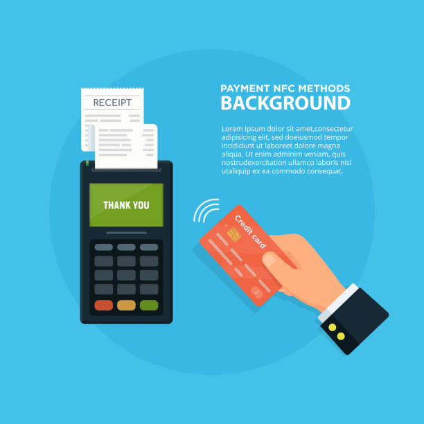 ilustrações de stock, clip art, desenhos animados e ícones de pos terminal confirms the payment by debit credit card. nfc payment concept vector illustration in flat style. - paying with card contactless