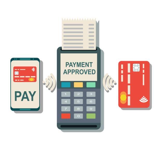 illustrations, cliparts, dessins animés et icônes de tpv confirme le paiement par smartphone et carte - terminal aéroportuaire
