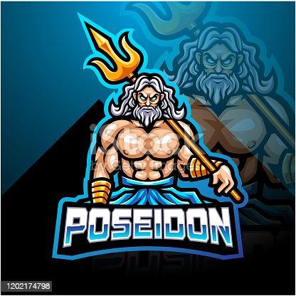 Illustration of Poseidon esport mascot logo design with trident weapon