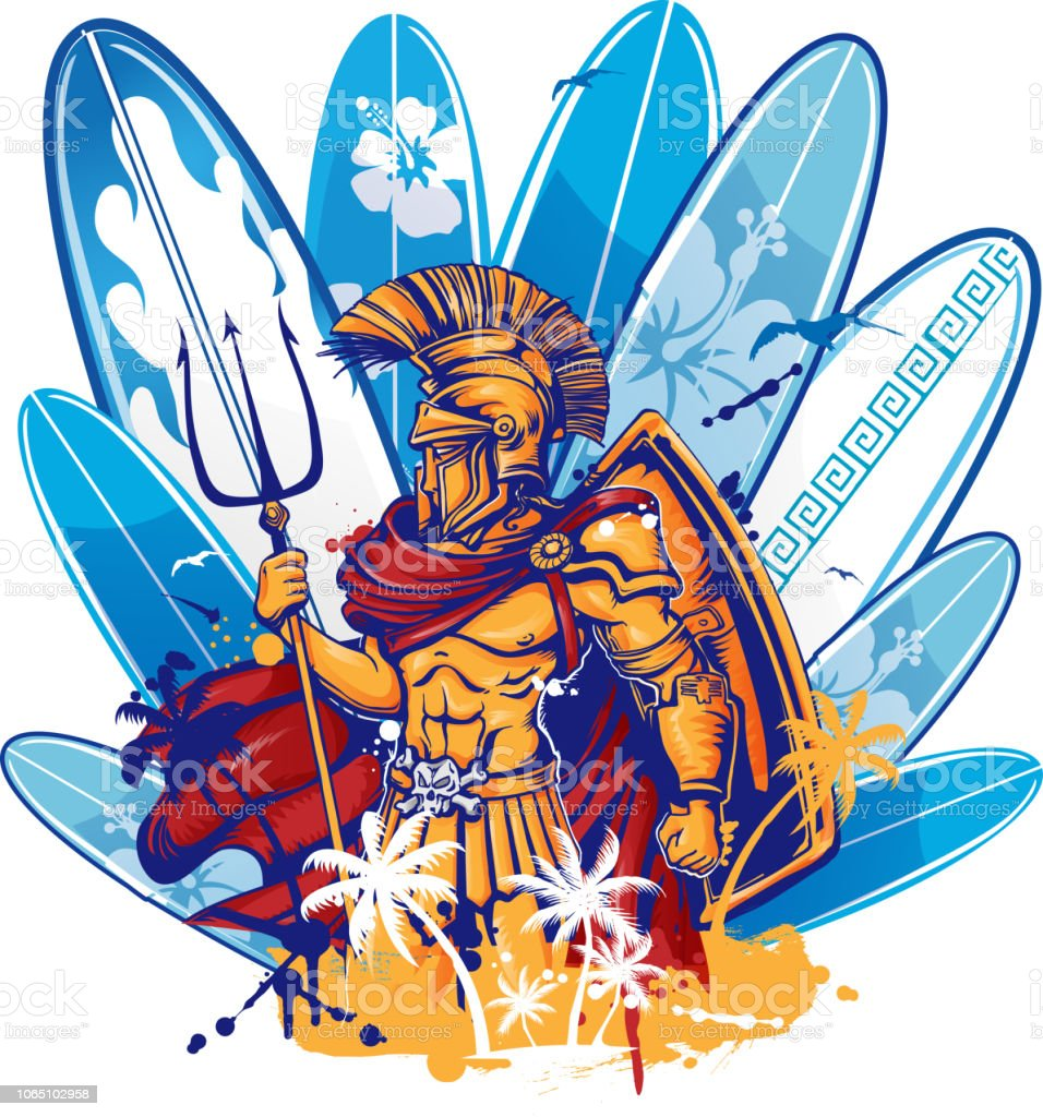 poseidon over surfboard elements vector art illustration
