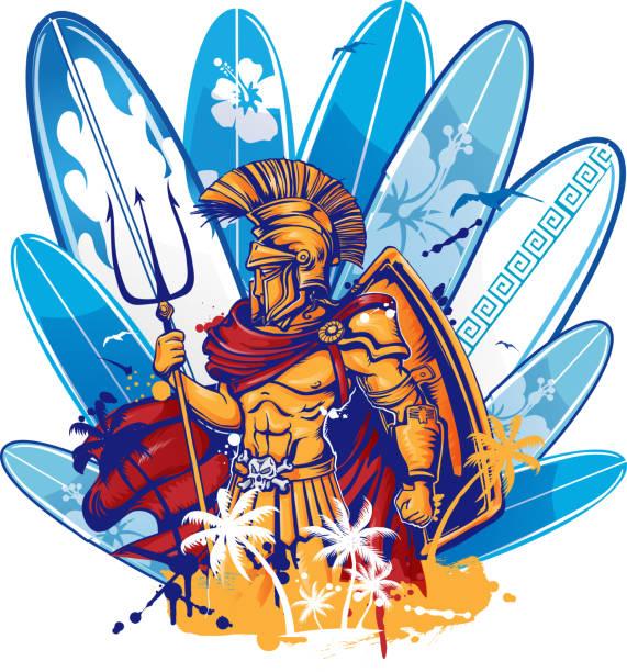 poseidon over surfboard elements vector art illustration