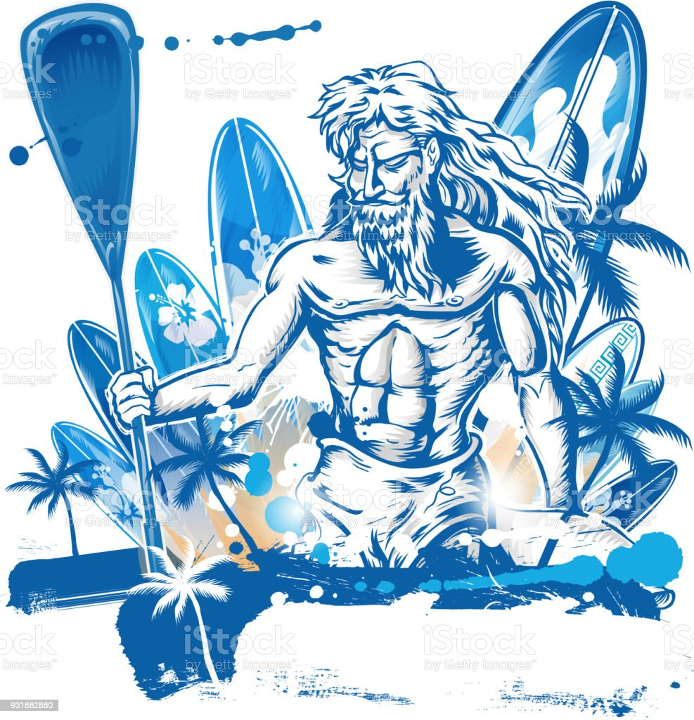 poseidon puddle surfer on surfboard hand draw vector art illustration
