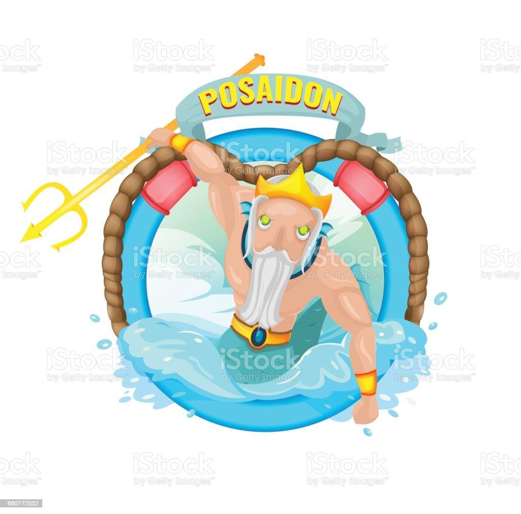 ポセイドン海の神キャラ イラスト ベクトル あごヒゲのベクターアート
