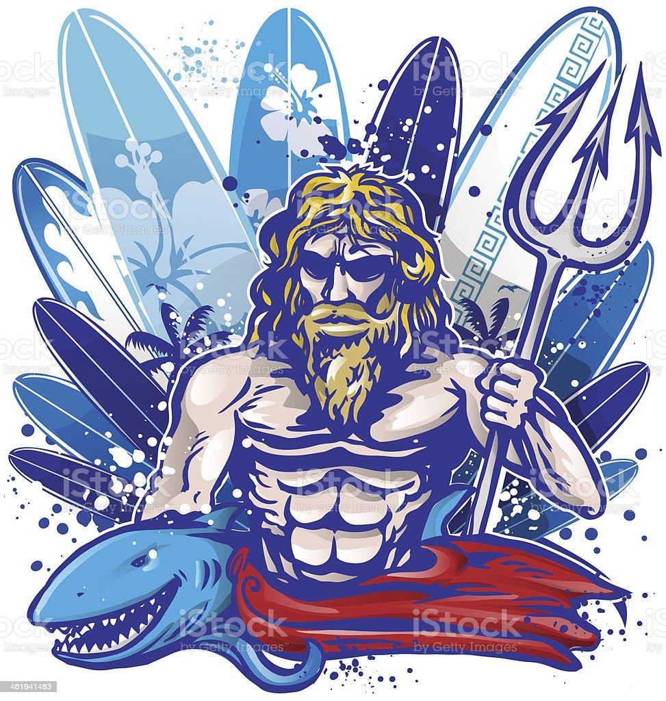 ポセイドンのサーファーサーフボード 30代の男性のベクターアート素材
