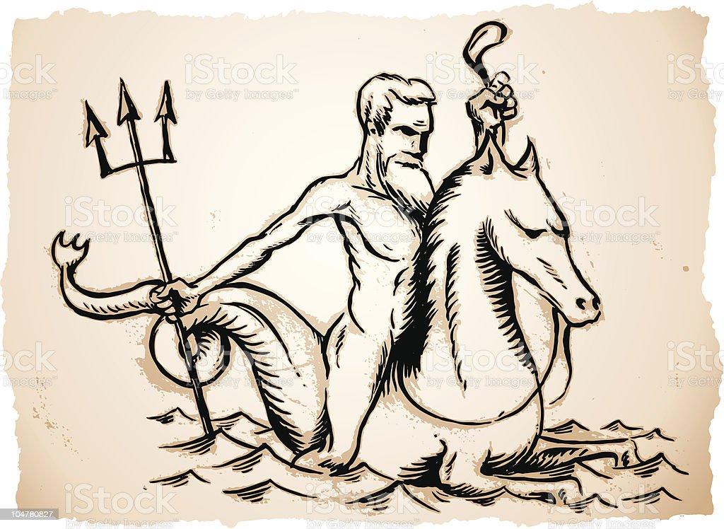 Poseidon royalty-free stock vector art