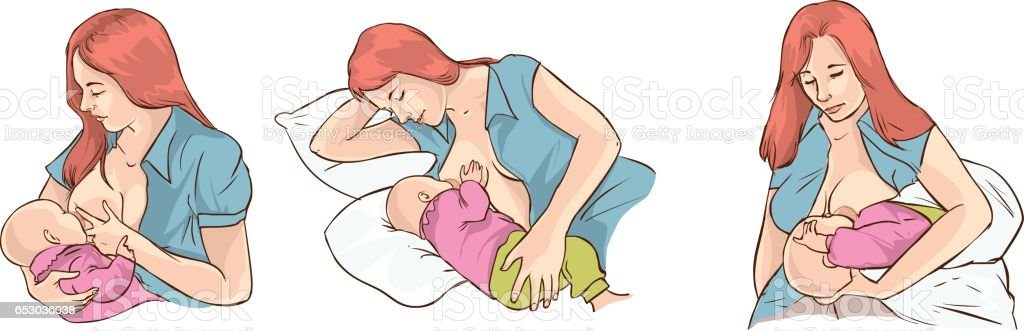 Poses for breastfeeding. Woman breastfeeding a child in different poses. Baby standing, sling, twins, on the pillow, baby sitting, out of hand. Woman breastfeeding twins. Vector illustration. vector art illustration