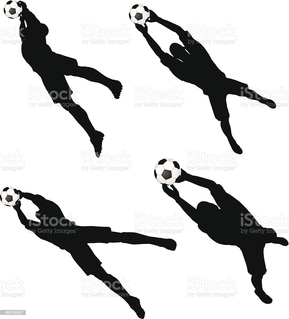 poses of soccer players silhouettes in air jumping position vector art illustration
