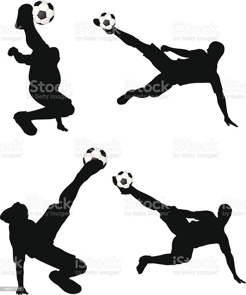 Posturas dos jogadores de futebol silhuetas na air Cargo - ilustração de arte em vetor