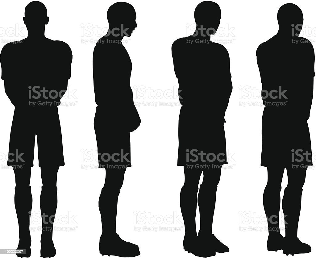 poses of soccer players silhouettes in defense position royalty free stock vector art