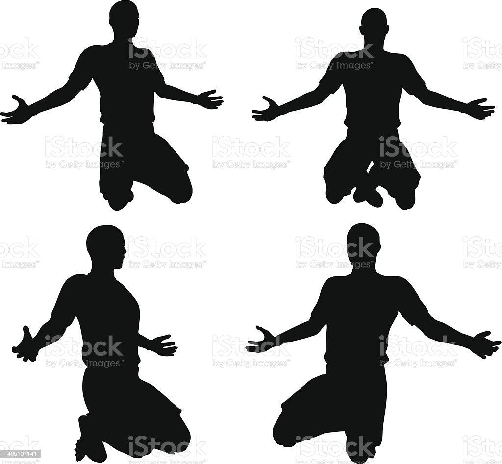 Posturas dos jogadores de futebol em posição rejoices silhuetas - ilustração de arte em vetor