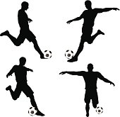 isolated poses of soccer players silhouettes in run and strike position