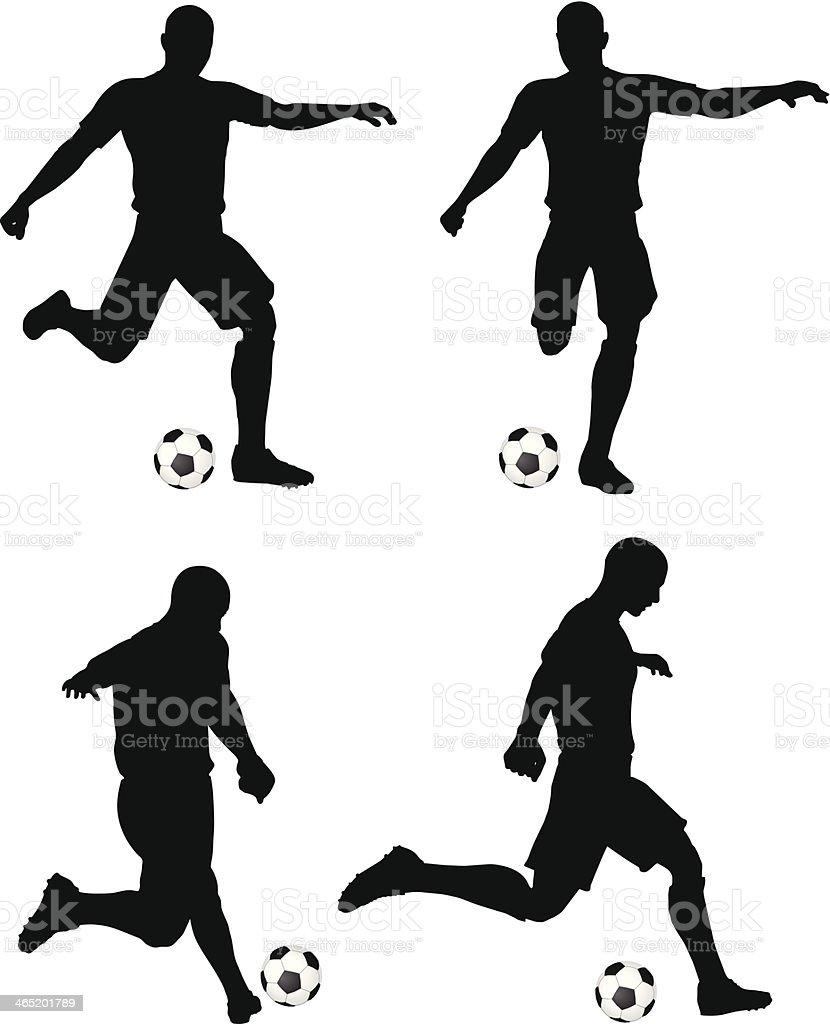Posturas dos jogadores de futebol silhuetas de corrida e posição de ataque - ilustração de arte em vetor