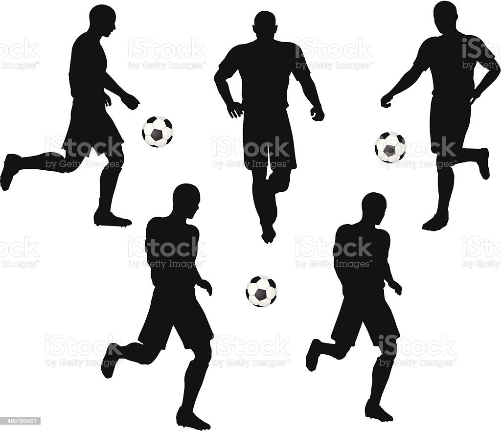 poses of soccer players silhouettes in running position stock vector