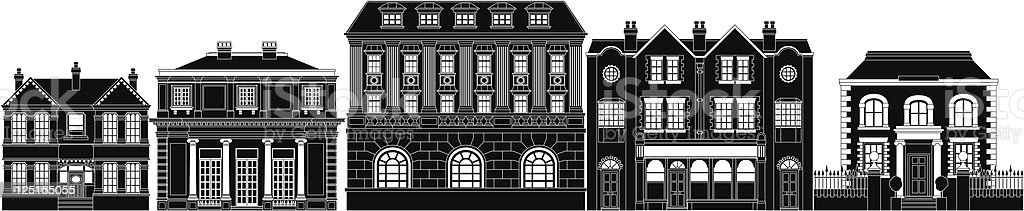 Posh smart row of buildings vector art illustration