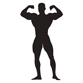 Posing bodybuilder front view, standing man with big muscles