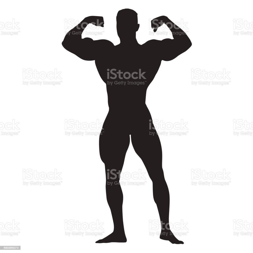 Posing bodybuilder front view, standing man with big muscles vector art illustration