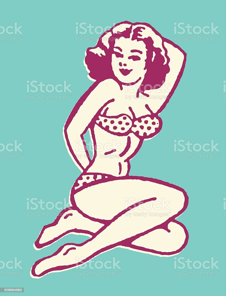Posing Woman in Bikini vector art illustration