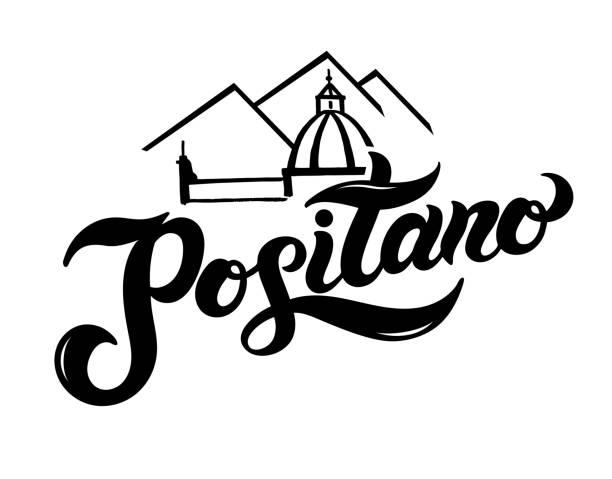 bildbanksillustrationer, clip art samt tecknat material och ikoner med positano. namnet på den italienska staden på amalfikusten - amalfi