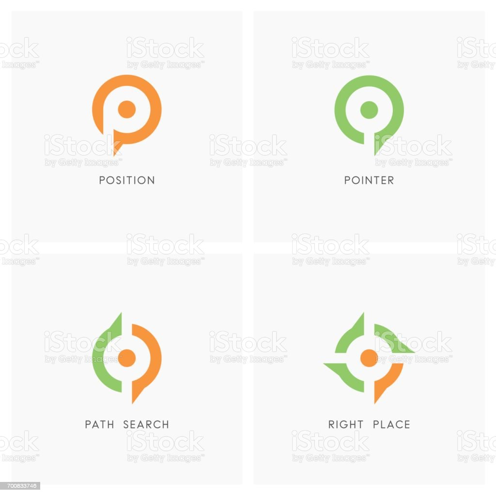 Conjunto de símbolo de indicador de posición - ilustración de arte vectorial