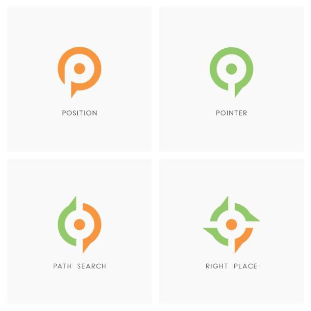 position pointer symbol set - compass stock illustrations, clip art, cartoons, & icons