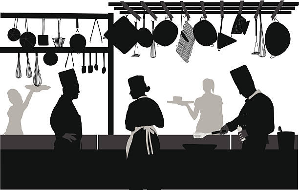 Positions Available Vector Silhouette A-Digit cooking silhouettes stock illustrations