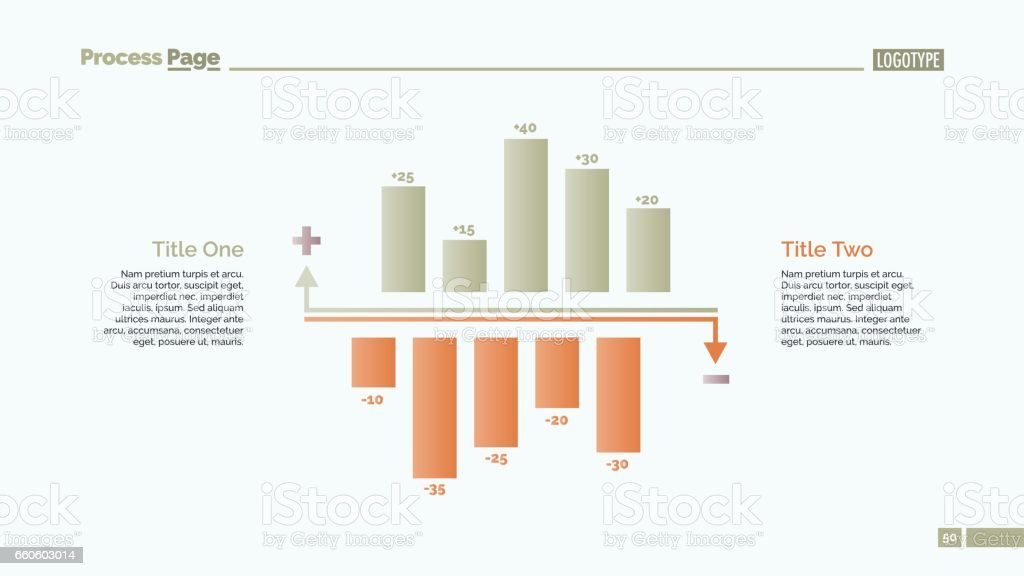 Positive and Negative Bar Charts Slide Template royalty-free positive and negative bar charts slide template stock vector art & more images of abstract