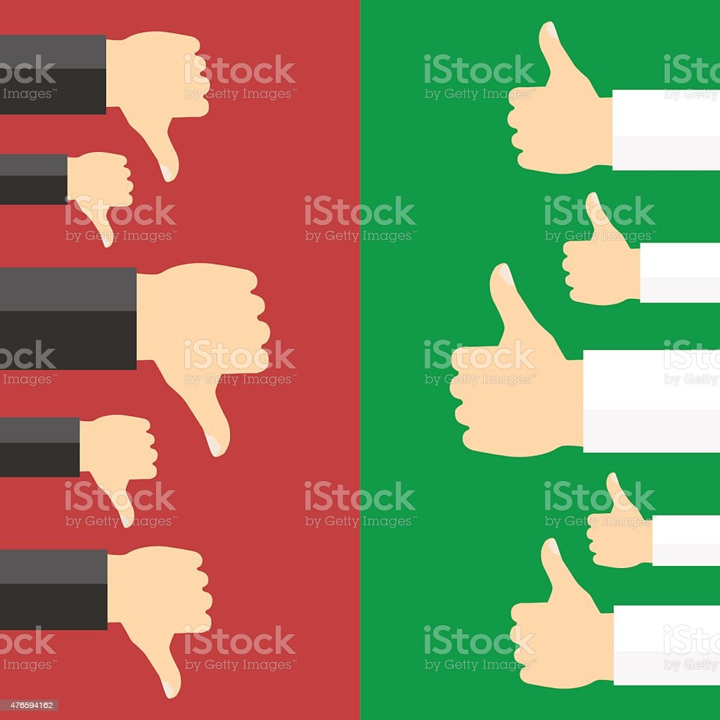 Positive and negative feedback concept. vector art illustration