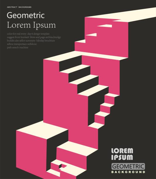 positive und up konzept, geometrische würfel muster hintergrund - treppe stock-grafiken, -clipart, -cartoons und -symbole