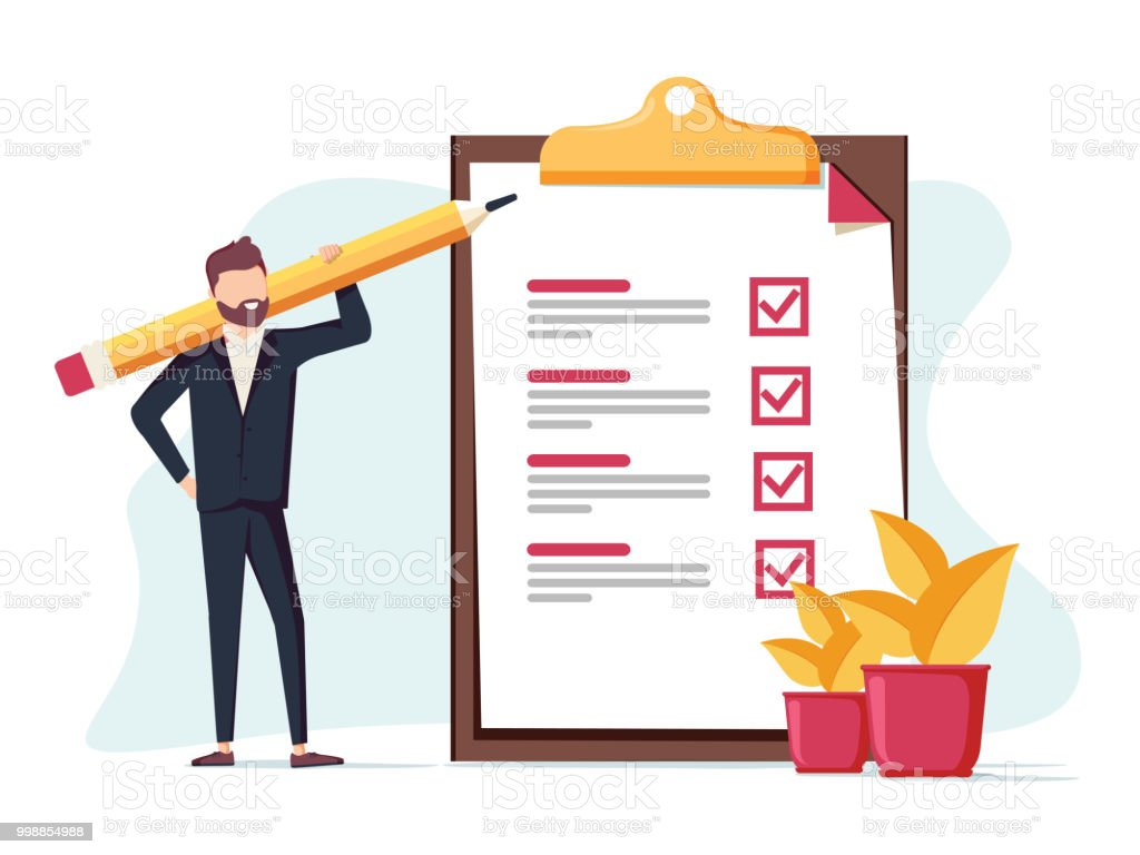 Positive business man with a giant pencil on his shoulder nearby marked checklist on a clipboard paper. vector art illustration