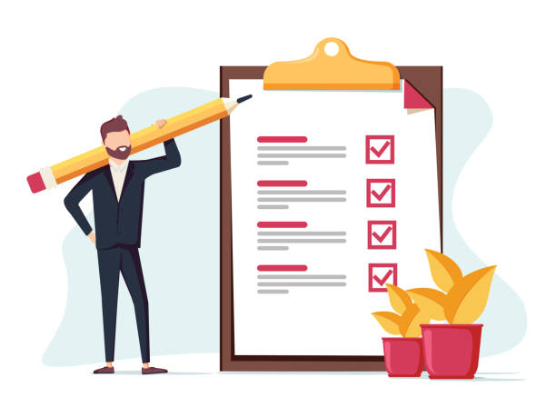 positive business man with a giant pencil on his shoulder nearby marked checklist on a clipboard paper. - goals stock illustrations