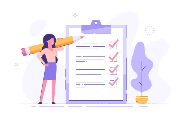 illustrazioni stock, clip art, cartoni animati e icone di tendenza di positive business woman with a giant pencil on his shoulder nearby marked checklist on a clipboard paper. successful completion of business tasks. flat vector illustration. - completo