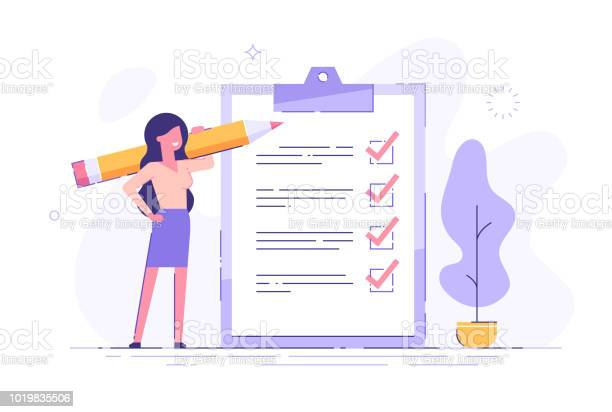 Positive Business Woman With A Giant Pencil On His Shoulder Nearby Marked Checklist On A Clipboard Paper Successful Completion Of Business Tasks Flat Vector Illustration — стоковая векторная графика и другие изображения на тему Анкета