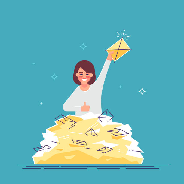 positive businesswoman found the right letter in a heap of e-mails. concept of direct mail, email, spam. modern vector flat illustration. - duża grupa obiektów stock illustrations