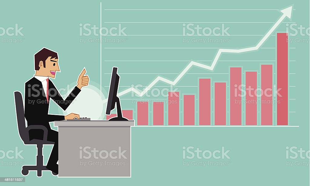 Positive chart vector art illustration