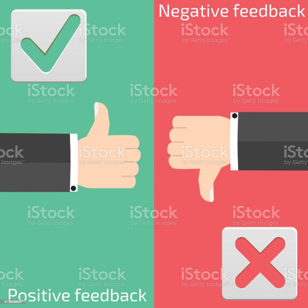 Positive feedback and negative feedback vector art illustration