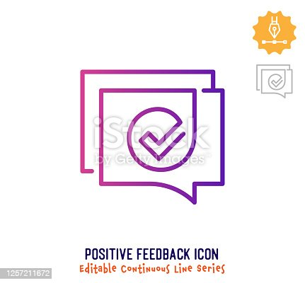 Positive feedback vector icon illustration for logo, emblem or symbol use. Part of continuous one line minimalistic drawing series. Design elements with editable gradient stroke line.
