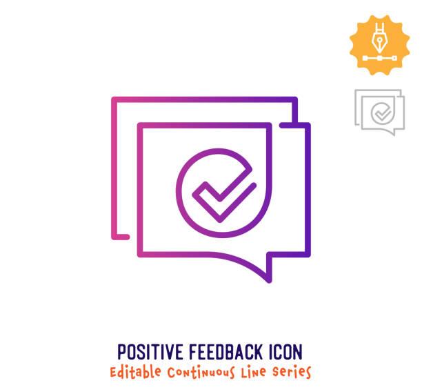 ilustrações, clipart, desenhos animados e ícones de linha de curso editável de linha contínua de feedback positivo - feedback