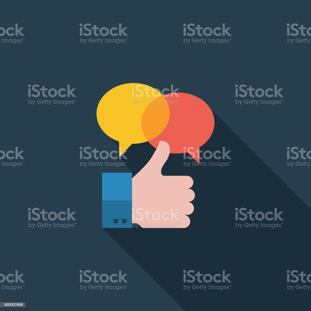 Positive Feedback Flat Icon vector art illustration