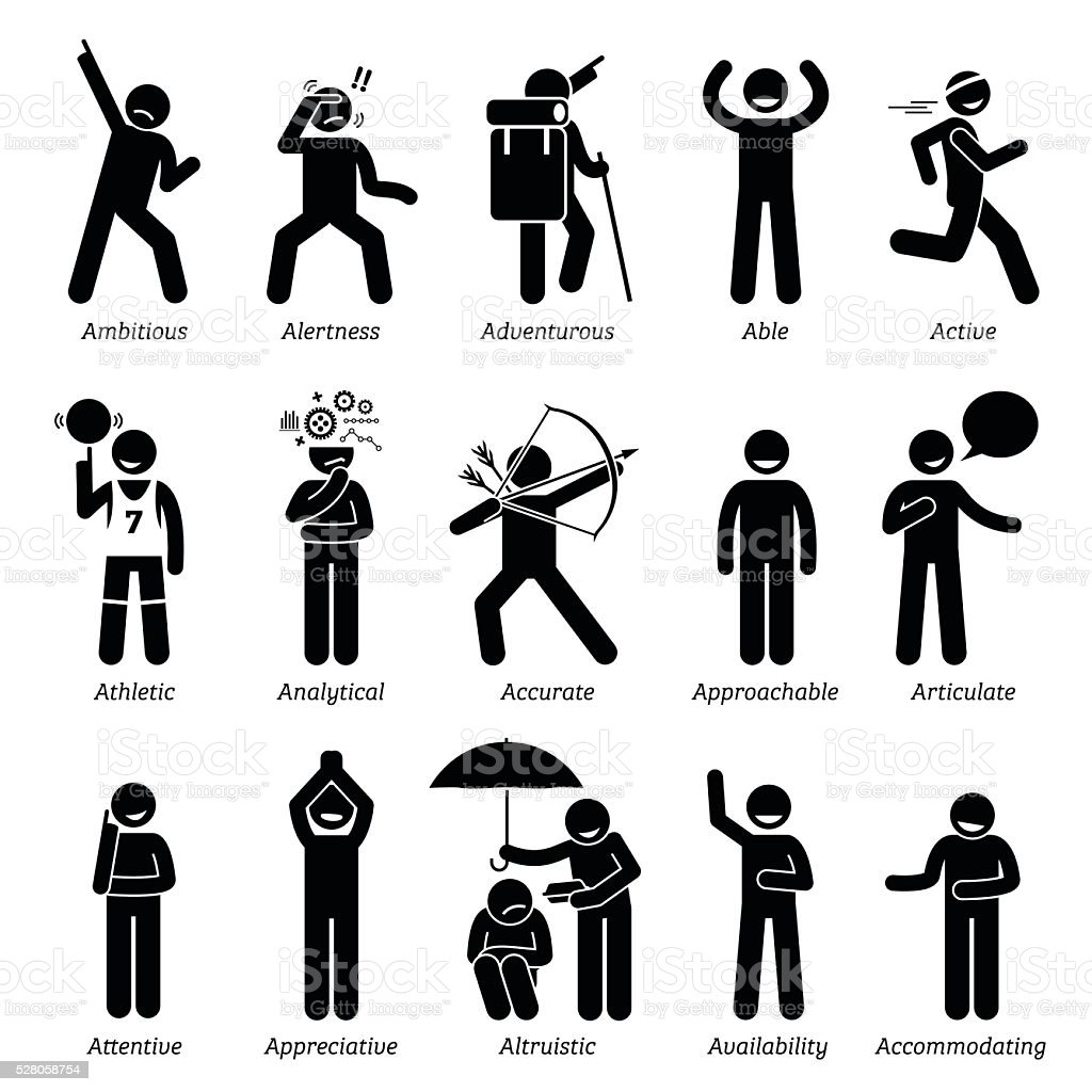 Positive Good Personalities Character Traits Stick Figures ...